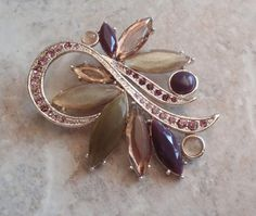Rose Olive Brooch Silver Tone Floral Large Acrylic by cutterstone, $15.00