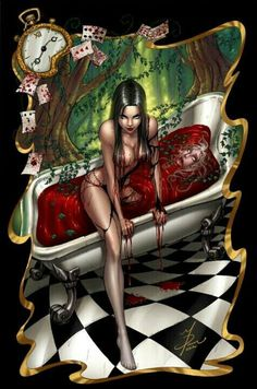 "Pinner said: Alice Bloodbath. My Opinion: Queen of Hearts Bloodbath ""Off with their HEADS! Cartoon Kunst, Comic Kunst, Cartoon Art, Fairytale Fantasies, Fairytale Art, Dark Fantasy, Fantasy Art, Grim Fairy Tales, Pinup"
