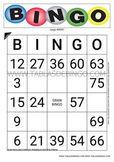 8 Ideas De Tablasdebingo Com Tablas De Bingo Bingo Tablas