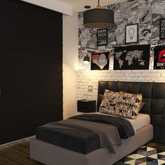 Furnish a one-room apartment - small bed and creative wall design One Room Apartment, Apartment Design, Multifunctional Furniture, Leroy Merlin, Minimalist Living, Dream Bedroom, My Room, Diy Home Decor, Bedroom Decor