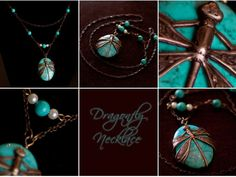 Dragonfly Necklace Wrapped Around Turquoise