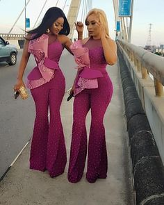 Excited to share this item from my shop: Pink Wedding Beaded Bell Bottom Jumpsuit Latest African Fashion Dresses, African Print Fashion, African Attire, African Dress, Evening Gowns Uk, Nigerian Dress Styles, Nigerian Fashion, African Print Jumpsuit, African Lace Styles