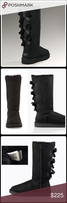 NEW! BAILEY BOW TALL ll Looking for those perfect Ugg's too give that special girly-girl? These are the it boot to give her! Fixed bows adorably update this iconic boot, which boasts soft Twinface that has been pretreated for protection against water and stains ◽️Twinface and suede ◽️Pretreated to repel water and stains ◽️Fixed bows along back shaft ◽️Sheepskin insole ◽️Treadlite by UGG™ outsole ◽️Nylon binding ◽️NWOB-Never worn  Bundle Discount ^ No Trades ^ Make Offers Thur Offer Button ^…