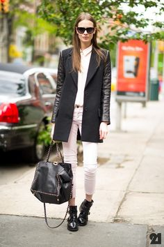 Jacket, white jeans