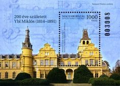 Hungary palace 2014 The stamp block depicts the building of the Wenckheim Palace in Szabadkígyós designed by Miklós Ybl and the background printing features the floor plan of the Palace. Commemorative Stamps, Revival Architecture, Budapest, Monochrome, Taj Mahal, Presentation, Louvre, Building, Green