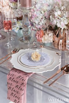 WedLuxe – Mulberry Blooms   Photography by: 5ive15ifteen Photo Company Follow @WedLuxe for more wedding inspiration! Pink And Gold Wedding, Blush And Gold, Table Place Settings, Wedding Decorations, Table Decorations, Wedding Centrepieces, Wedding Catering, Unique Weddings, Blush Weddings