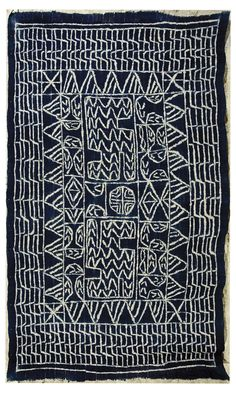 Africa | Textile from Cameroon or Nigeria; Hand woven cotton; indigo resist dyed | 'Ndop' style | ca. 2nd quarter of the 20th century
