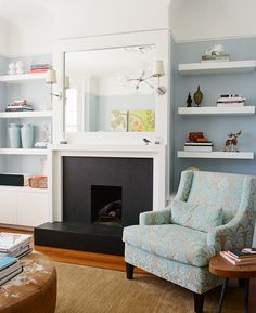 Mix of light and dark, old and modern. Sconces on either side of mirrored fireplace