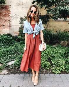 red midi dress with a tied chambray top over Shirt Over Dress, Dress Up, Modest Fashion, Fashion Dresses, Ladies Fashion, Fashion Tips, Fashion Trends, Spring Summer Fashion, Autumn Fashion