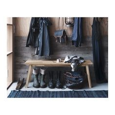 SKOGSTA IKEA collection made of acacia wood. Raw styling with blues for the hallway Decor, Ikea New, Interior, Scandinavian Home, Wooden Bench, My Scandinavian Home, Ikea, Ikea Farmhouse, Bench