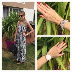 Tenue du jour : robe H&M (été dernier) , sac Michael Kors , Ray-ban erika . Montre Michael Kors , bracelet fossil ét bracelets porte bonheur acheté en Crète