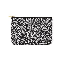 Alphabet Black and White Letters Carry-All Pouch 6 White Letters, Carry On, Alphabet, Pouch, Black And White, Cool Stuff, Blanco Y Negro, Hand Luggage, Black White