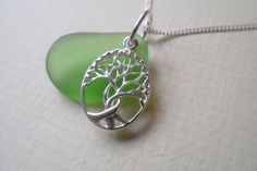 Emerald Green Genuine Sea Glass Tree of Life Charm Sterling Silver Necklace £21.95