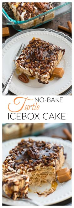 Easy No Bake Turtle Ice Box Cake is so simple to make and perfect for freeing up your oven for Thanksgiving or your next holiday party!