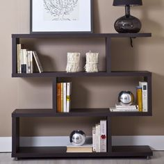 Storage Display Cabinet Shelving Unit Bookcase Adjustable Legs Wooden Furniture