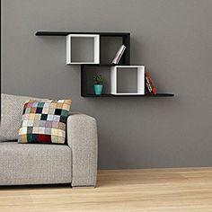 "Amazon.com: Zerre Wall Shelf Black-White h:21.7"" w:49.2"" d:8.6"": Home & Kitchen"