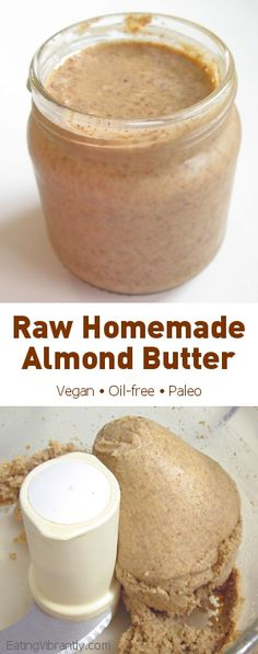 Homemade Raw Almond Butter - So simple, so wholesome, so delicious and SO worth it @ Eating Vibrantly Homemade Almond Butter, Raw Almond Butter, Nut Butter, Raw Vegan Recipes, Vegan Desserts, Healthy Recipes, Vegan Meals, Italian Desserts, Vegetarian Recipes