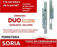Si tienes problemas con la cerradura de tu portal desde FERRETERIA SORIA: TODO EN CERRADURAS  te recomendamos como solución La cerradura Dúo.  Consúltanos!!.  Ya que dependiendo de vuestra necesidad hay distintas opciones. #cerraduras #cerrajeros #comunidadesdevecinos #seguridadhogar en #Alicante  Dúo Estándar: Al cerrar se dispara el pestillo automáticamente y al abrir desde la manilla girando la llave ó pulsando el botón se retrae y da acceso.  Dúo 24 horas: Permite control del paso a…