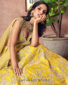 Are You Excited To See This! Are You Excited To See This!Technically, Anushree Reddy 2019 Bridal Lehengas have sort of launched in L Floral Lehenga, Bridal Lehenga, Yellow Lehenga, Indian Wedding Outfits, Indian Outfits, Indian Clothes, Indian Fashion Dresses, Lakme Fashion Week, Lehenga Designs
