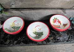 Snowman Serving Bowls, Set of 3, Winter Decor, Vintage Home & Farmhouse, Dining and Serving, Kitchen Accessories, Holidays by TheStorageChest on Etsy