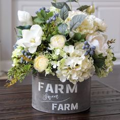 Farmhouse Decor~Summer Centerpiece~All Year Round Floral Arrangement~Magnolias, Hydrangeas, Roses and Ranunculus in a Galvanized Container Summer Centerpieces, Floral Centerpieces, Tall Centerpiece, Centerpiece Wedding, Beautiful Flower Arrangements, Beautiful Flowers, Bouquet Champetre, Country Farmhouse Decor, Shabby Chic Homes