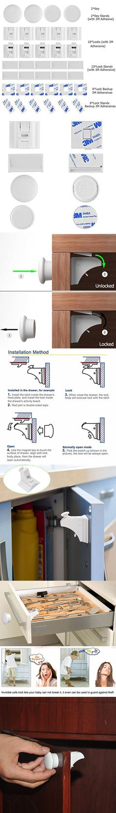 Balfer Baby Safety Magnetic Cabinet Lock Set No Drilling (10 Locks + 2 Keys)
