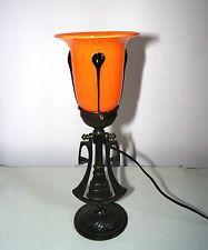 Antike Tisch-/Wandlampe Glasschirm Orange Schwarz, ART DECO, hängt und steht!