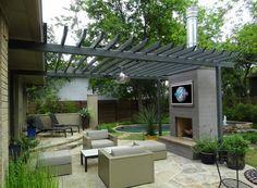 backyard TV, fireplace patio.