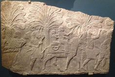 A woman and a boy riding a mule, seated on a comfortable-looking two-seat saddle construction. They are part of a group of Assyrian soldiers and Babylonian deportees in a depiction of the events after the capture of Sahrina during the wars in Babylonia in 702 BC. Fragment of the carved stone decorations of Room 70 in king Sennacherib's Southwest Palace at Nineveh. Ashmolean Museum, Oxford, AN 1933.1575. Photo by Karen Radner. http://www.ucl.ac.uk/sargon