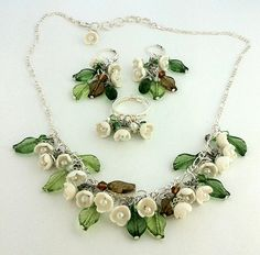 Polymer Clay Lilies Of The Valley Necklace, Earings and Ring. $55.00, via Etsy.