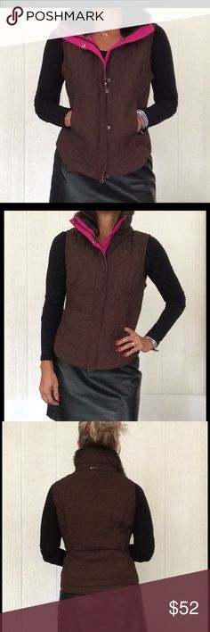RARE NIKE QUILTED LIGHTWEIGHT VEST EUC. Fabulous Nike quilted lightweight vest. Luxe brown polyester quilting on outside neon pink on inside polyester lining. Interior cell phone pocket and separate pocket made specifically for your lipstick. Non zippered side pockets. Faux fur collar that disappears when zipped all the way up to cover neck for added warmth!  Metal Nike logo on Left chest embroidered silver Nike swoosh on back collar. Full zipper with placket to cover metal snaps for clean…