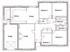 Small 4 bedroom House Plans Free | Typical Floor Plans - Powering ...