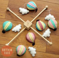 baby mobile - hot air balloon crib cot mobile - Button Face