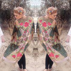Kimono Jacket  Kimono Coat  Fringe Jacket  por HausofDenimandLace