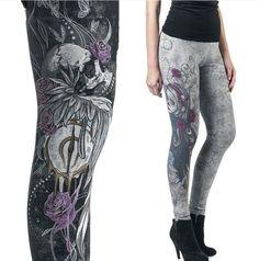 a1dbbbf9c320e Womens Skull Head Punk Leggings Gothic Workout Slim Elastic Pants Trousers  #fashion #clothing #