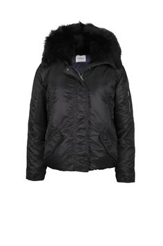 LEMPELIUS Fall Winter 2015 16 Women Black short down jacket with lamb fur hood