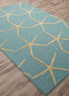 Coastal Resort Starfishing - Mineral Blue & Ecru Olive Hand-Tufted Rug