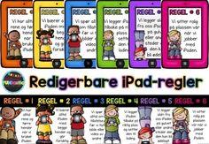 Redigerbare regelplakater for iPad fra Teaching FUNtastic Classroom Management, Teacher, Education, Professor, Teachers, Onderwijs, Learning