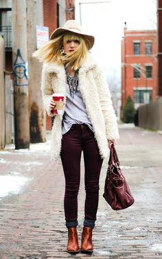 Shop this look on Kaleidoscope (pants, coat, necklace, bootie, hat) http://kalei.do/WYtjy4ZFmEAxqp5C