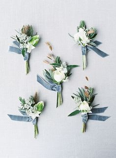 dusty blue ribbons for button holes, these are AWESOME! love this for groomsmen March Wedding Colors, Winter Wedding Flowers, Wedding Themes, Spring Wedding, Floral Wedding, Wedding Bouquets, Wedding Decorations, Rustic Wedding, Wedding Ideas