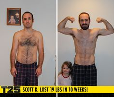 "Scott K. lost 19 lbs in 10 weeks with Focus T25! Congrats Scott!!    ""Shaun T's energy and the fun mix of moves never made the workouts boring. I feel better about myself and proud of what I accomplished. My abs are so much better."""