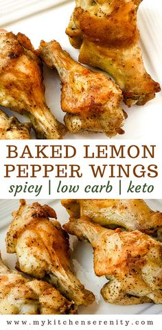 These lemon pepper chicken wings are seasoned with a spicy homemade lemon pepper seasoning and baked in the oven. Healthy low carb and keto friendly. Chicken wings are great for game day or any day. Wings are a great choice for an appetizer snack or meal. Keto Chicken Wings, Chicken Wing Recipes, Beef Recipes, Cooking Recipes, Healthy Recipes, Oven Chicken, Baked Wings Recipe Healthy, Keto Wings Recipe, Chicken Breasts