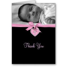 Pink Cross Photo Christening Thank You Card