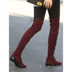 Burgundy Suede Pointed Laced Back Over The Knee Flat Boots ($98) ❤ liked on Polyvore featuring shoes, boots, thigh-high boots, over-the-knee flat boots, thigh high lace up boots, lace up boots and stretch thigh high boots