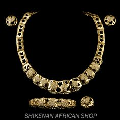 Luxe Gold Plated Stones and Crystals Fashion Jewelry Set - African Fashion