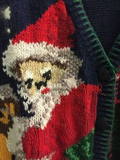 Ugly Christmas Sweater Vest Jumper Mean Scary Santa Cotton L #HastingSmith #VestSleeveless