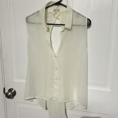 Shirt Off white button up see through blouse with lace cutout back Kirra Tops Blouses