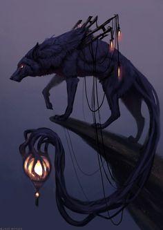 Wild Fantasy: Animal Paintings by Jade Merien Dark Fantasy Art, Fantasy Wolf, Fantasy Beasts, Fantasy Kunst, Fantasy Artwork, Digital Art Fantasy, Fantasy Men, Fantasy City, Fantasy Forest