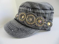 Cadet Hat, Military Hat, Gray Hat, Large Rhinestone Aplique, Woman, Woman Cap, Bling Hats, Womens Hat, Military Caps, Rhinestone Cadet Cap on Etsy, $26.00