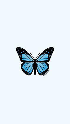 Light Blue Butterfly Sticker by daisiawalker Ps Wallpaper, Cute Patterns Wallpaper, Iphone Background Wallpaper, Aesthetic Iphone Wallpaper, Aesthetic Wallpapers, Blue Wallpapers, Pretty Wallpapers, Foto Cartoon, Wallpaper Bonitos